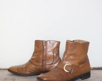 SALE 8 | Men's Vintage Buckle Boots 1960's Mod Ankle Boots in Camel Brown