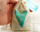 10 item fossil and shell collection starter kit in hand stamped shark tooth Megalodon bag with watercolor tag