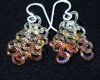 Amber Fade Glass Chain Earrings