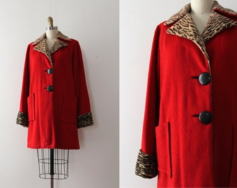 vintage 1940s coat // 40s red and leopard wool jacket
