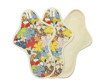 """11"""" Pure Cotton Reusable Cloth Menstrual Pads set for period / Cloth pad set / Cloth menstrual pads heavy - 3 Large pads (Maple)"""
