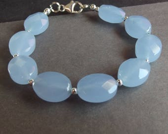 RESERVED for CAROL - Blue Lace Chalcedony Bracelet:  Pastel Blue Gemstone Bracelet, Chunky Beaded Bracelet, Summer Jewelry