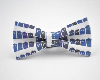Mens Bowtie, Tardis Bow Tie, Dr Who Inspired Bow Tie, Police Box, Bow Ties by AmandaJoHandmade on Etsy