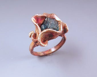 Copper Electroformed- Metal Art Ring- One of a Kind Sculpture- Apatite Ring