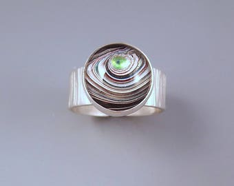 Fordite- Detroit Agate- Little Green Eye- Michigan Made- Hammered Sterling Silver- Fordite Ring