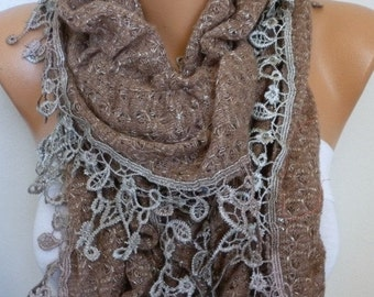 ON SALE --- Milky Brown Ruffle Knitted Scarf, Fall Winter Lace Scarf.  Shawl Scarf Flower Scarf  Cowl Scarf,  Gift For Her Women's Fashion A
