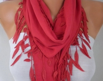 ON SALE --- Red Pashmina Scarf , Fall Winter Fashion Leaf Scarf, Easter, Cowl Scarf Bridesmaid Gift Ideas For Her , Women Fashion Accessorie