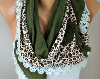 Green Knitted Floral Scarf Shawl Cowl Lace Bridesmaid Gift Bridal Accessories Gift Ideas For Her Women Fashion Accessories Winter Scarf