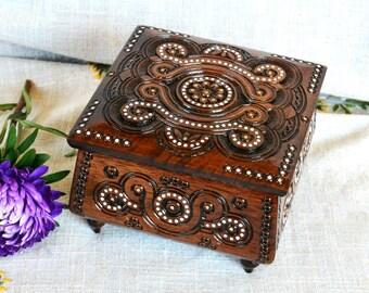 Jewelry box Wedding jewelry box Wooden jewelry box Ring box Wooden box Jewelry ring box Wood carving Jewellery box Wedding ring box wood B10