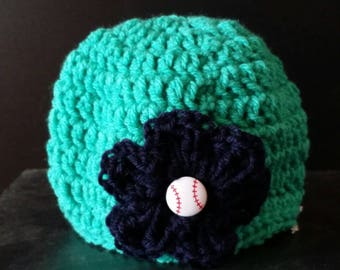 Seattle Mariners Beanie Hat with flower, button, crochet, colorful, white, large flower, baseball, warm, weather, cold, snow, messy bun hat