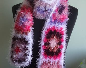 Eyelash Granny Square Scarf, Long Scarf, Multicolored Neck Warmer, Furry Scarf