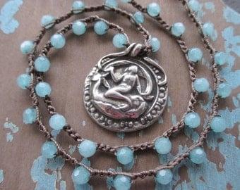 OOAK Mermaid crochet necklace - Sea Queen - sky blue semi precious stone artisan mermaid whale beach boho by slashKnots