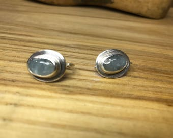 Aqua marine and Sterling Silver earrings, bezel wrapped earrings