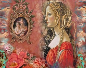Florentine Flower... Digital Fusion, Print, Home Decor, Wall Decor