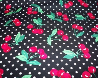Cherries Fabric Black Background with White Polka Dots  By The Fat Quarter BTFQ New