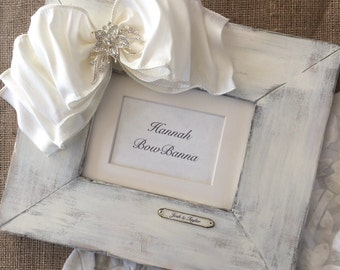 Wedding Picture Frame Bow Jewel White Wash Personalize Rustic Statement Piece Wedding Decor Pearl Diamond