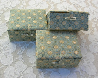 SUMMER SALE 3 Identical Chinese Gift Boxes, green & gold silk brocade, lined in satin, vintage