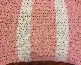 Crocheted Pink and White Baby Blanket