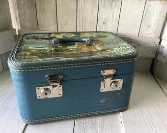 Vintage train case carry on luggage embellished map travel images smoky blue 1950s- free shipping US