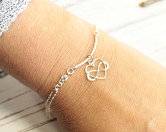 Dainty Sterling Silver Bar Bracelet with Infinity Heart and CZ Detail