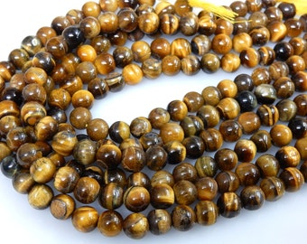 Yellow Tiger Eye Smooth Round Ball Beads Size 9x9MM Super Top AAA Quality 14''  10 Strands Wholesale Price Made In India 100% Natural