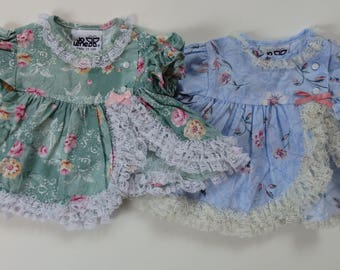 vintage infant Baby Girl Puff sleeve lace floral Dress LOT 0-6 NB
