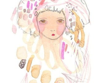 Original whimsical abstract girl drawing pink art
