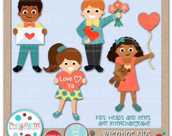 Valentine Kids Cutting Files & Clip Art - Instant Download