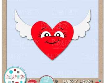 Happy Heart Cutting Files & Clip Art - Instant Download