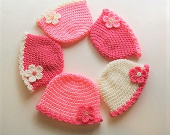 Newborn Beanie with Flower - Your Choice of Color - Newborn 0 to 3 months