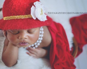 RTS Red Glamour Felted Newborn Brim Hat-Felted Newborn Bowler Hat-Vintage Inspired Newborn Hat-Organic Newborn Photography Props-Infant Prop