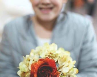 Custom Metallic Hydrangea Rose Bridesmaid Bouquet