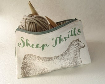 Sheep Thrills Knitting Tool Bag, Needle Case, Canvas and Linen