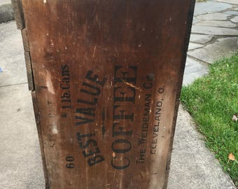 Antique wooden large coffee shipping crate