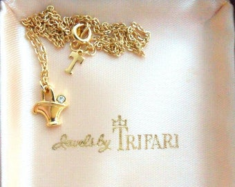 ON SALE Trifari Necklace - Gold Plated Basket Pendant with Clear Crystal Detail