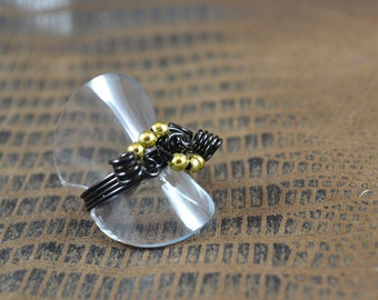 Size 7.5:  Simple Ring of Black & Gold