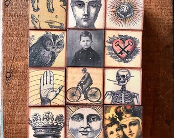 Antique Style Art Blocks Letter Blocks MiniArt Cubes Interactive Block Sculpture Coffee Table Fun Set of 12