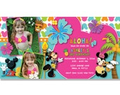 Mickey Mouse and Minnie Hawaiian Luau Invitation - Digital File