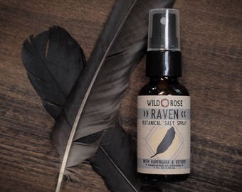 Hair Salt Spray - RAVEN - Organic Botanical Perfume - with Ravensara, Cedar, Cypress & Vetiver - 1oz//30ml