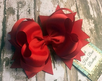 Large Red Christmas Hair bow , big red bow , over the top hair bow , red hair bow , red hair clip , red large hair bow , school hair bow