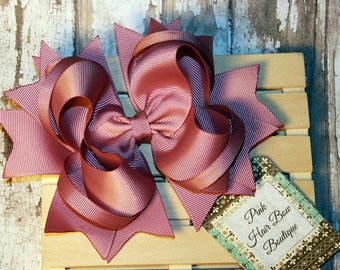 Large mauve Hair bow , over the top , 5.6 inch hair bow for girls , pink birthday hair bow