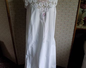 SALE - Early 1900's White Cotton Nightgown with Crochet