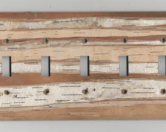 REAL birch bark covered light switch plate - Quintuple Toggle (5 five Hole)