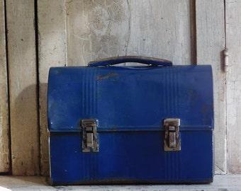 Vintage Blue Metal Lunch Box, Mens Work Lunch Pail