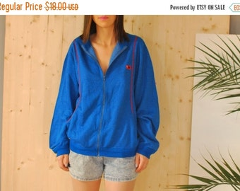 SALE Electric Blue Cotton Sweatshirt Jacket VINTAGE 90's