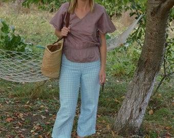SALE Checkered linen Pants Vintage 90's blue white ankle pants linen summer pants