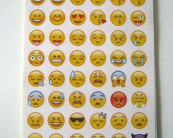 48 Emoji Stickers, 2 Sheets, Scrapbooking, Planning Supplies