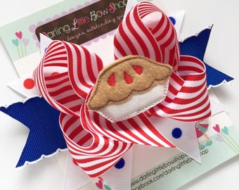 Pie bow, American Sweetie Pie bow - red, white and blue hairbow with pie center -- optional headband