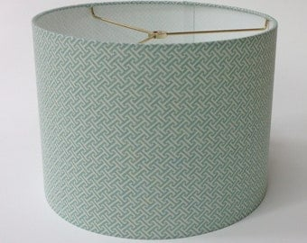 Small Drum Lamp Shade in Pale Aqua and White Greek Key