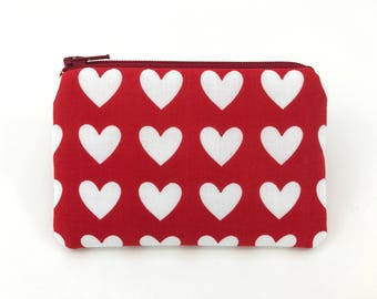 Red Heart Coin Purse, Zippered Pouch, Card Pouch,  Mini Wallet, Gift idea, Change Purse, Padded Pouch
